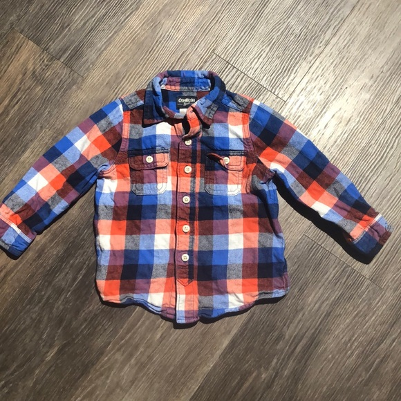 4/$20 Boys OshKosh Flannel Plaid Shirt Sz 3
